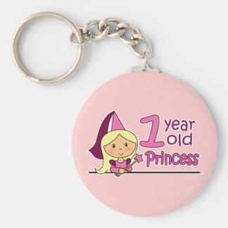 Princess Age 1 Basic Round Button Key Ring