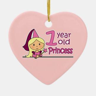 Princess Age 1 Ceramic Heart Decoration