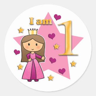 Princess Age 1 Classic Round Sticker
