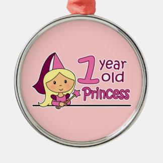 Princess Age 1 Silver-Colored Round Decoration
