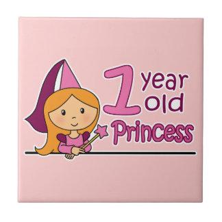 Princess Age 1 Small Square Tile