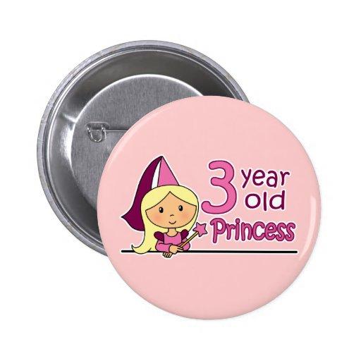Princess Age 3 Pinback Button