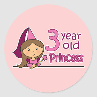Princess Age 3 Classic Round Sticker