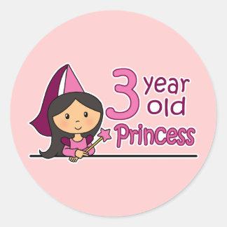 Princess Age 3 Round Sticker