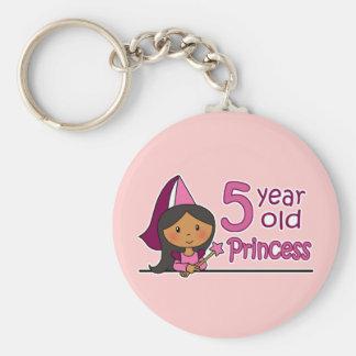Princess Age 5 Basic Round Button Key Ring