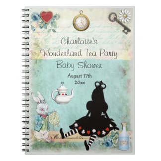 Princess Alice in Wonderland Baby Shower Guestbook Notebook