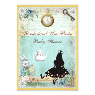 Princess Alice in Wonderland Baby Shower Tea Party Card