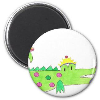 Princess Alligator Cake 6 Cm Round Magnet