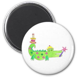 Princess Alligator Cake Fridge Magnets