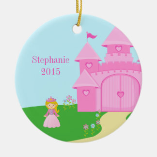 Princess and castle girl's personalized ornament