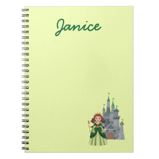 Princess and Castle in Green Notebook