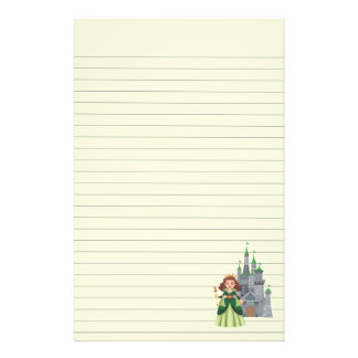Princess and Castle in Green Stationery