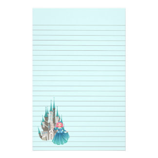 Princess and Castle in Turquoise Stationery