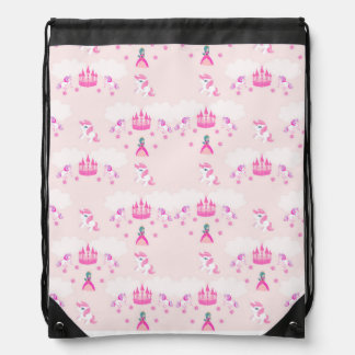 Princess and castle pattern Drawstring Backpack