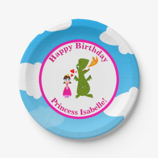 Princess and Dragon Fairy Tale Birthday Party 7 Inch Paper Plate
