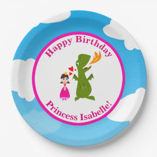 Princess and Dragon Fairy Tale Birthday Party 9 Inch Paper Plate