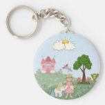 Princess and her castle basic round button key ring