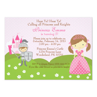 Princess and Knight birthday invitation
