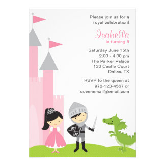 Princess and Knight Birthday Invitations Personalized Announcements