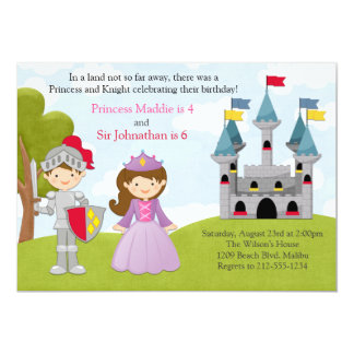 Princess and Knight Joint Birthday Party 13 Cm X 18 Cm Invitation Card