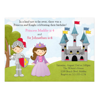Princess and Knight Joint Birthday Party Custom Announcements