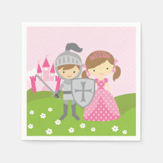 Princess and Knight party napkins Disposable Serviettes