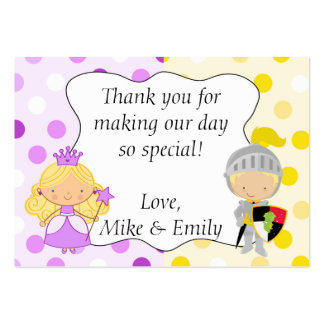 Princess and Knight Party Thank You Tag Label Pack Of Chubby Business Cards