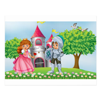 Princess and knight postcard