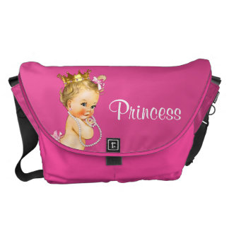 Princess and Pearls Hot Pink Baby Diaper Bag Courier Bags