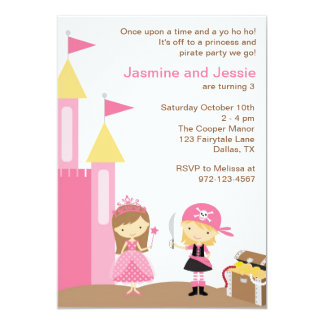 Princess and Pink Pirate 13 Cm X 18 Cm Invitation Card