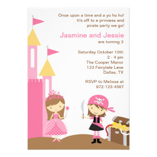 Princess and Pink Pirate Invitations Personalized Invitation