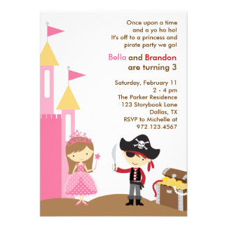 Princess and Pirate Invitation Custom Invite