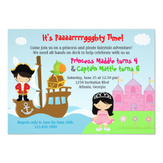 Princess and Pirate Twins Joint Birthday Party Card