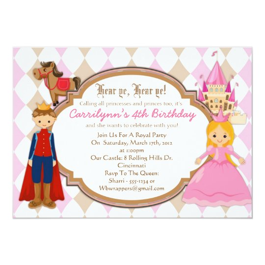 Princess and Prince - Birthday Party Invitations
