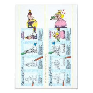 Princess and prince bookmarks 17 cm x 22 cm invitation card