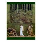 Princess and Trolls Walk Through Forest Postcard