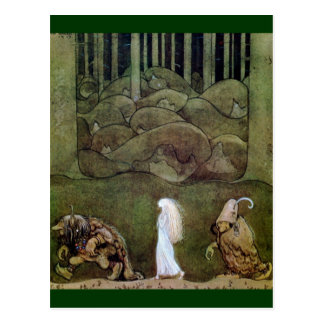 Princess and Trolls Walk Through Forest Postcard