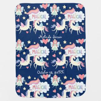 Princess and Unicorn Pattern Personalized Baby Blanket