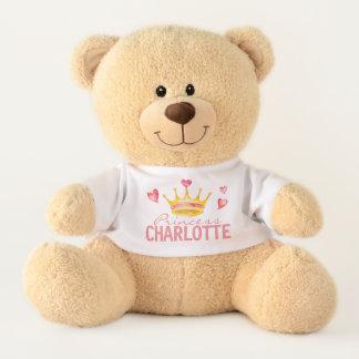 Princess ANY NAME Cute Personalised Hearts & Tiara Teddy Bear
