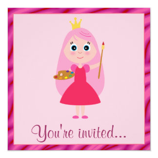 Princess Arts and Crafts Birthday Party Personalized Invitations