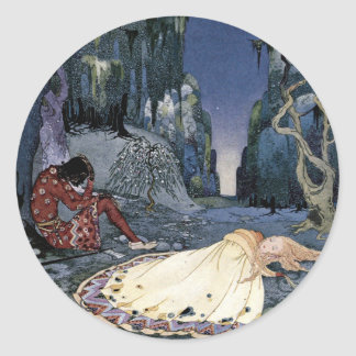 Princess Asleep in Forest Classic Round Sticker