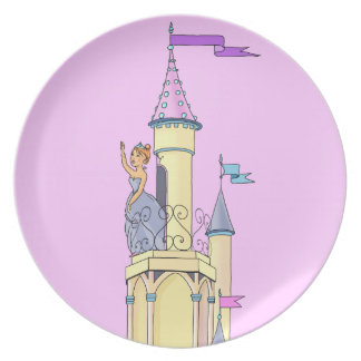 Princess at Fairy Tale Castle  -  Plate