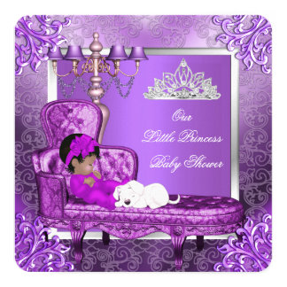 Princess Baby Shower Cute Baby Girl Purple 5.25x5.25 Square Paper Invitation Card