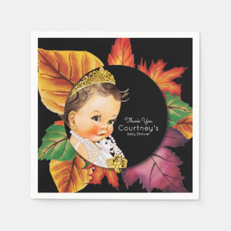 Princess Baby Shower Elegant Fall Leaves Disposable Serviette
