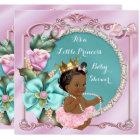 Princess Baby Shower Floral Teal Pink Ethnic Card