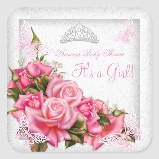 Princess Baby Shower Girl Butterfly Pink Rose 3