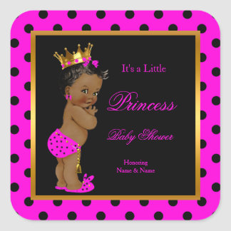 Princess Baby Shower Girl Hot Pink Black Ethnic Square Sticker