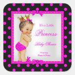Princess Baby Shower Girl Hot Pink Brunette Square Sticker