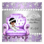 Princess Baby Shower Girl Lavender Silver Chair 13 Cm X 13 Cm Square Invitation Card