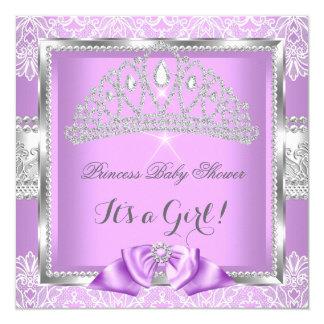 Princess Baby Shower Girl Lavender Silver Lace 13 Cm X 13 Cm Square Invitation Card